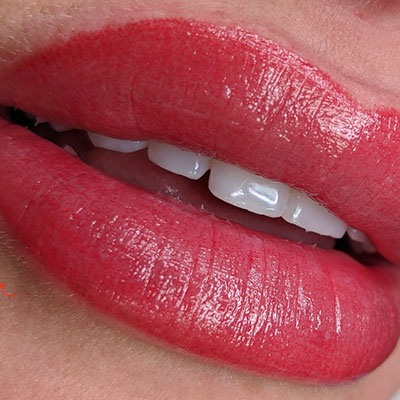 woman's lips with Lip Blushing applied