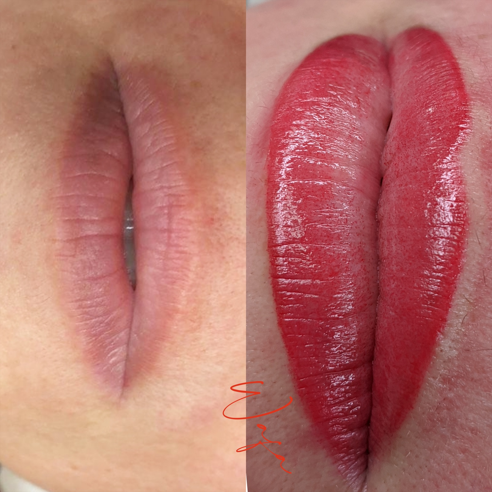 Woman's lips before and after Lip Blushing